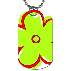 Flower Floral Red Green Dog Tag (two Sides) by Alisyart