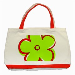 Flower Floral Red Green Classic Tote Bag (Red) by Alisyart