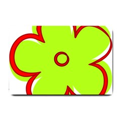 Flower Floral Red Green Small Doormat  by Alisyart