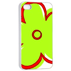 Flower Floral Red Green Apple Iphone 4/4s Seamless Case (white) by Alisyart