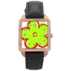 Flower Floral Red Green Rose Gold Leather Watch  by Alisyart