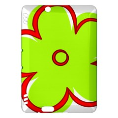 Flower Floral Red Green Kindle Fire Hdx Hardshell Case by Alisyart
