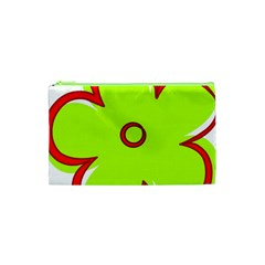Flower Floral Red Green Cosmetic Bag (xs) by Alisyart
