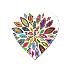 Chromatic Flower Petals Rainbow Heart Magnet by Alisyart