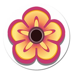 Flower Floral Hole Eye Star Magnet 5  (round) by Alisyart