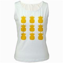 Fruit Pineapple Printable Orange Yellow Women s White Tank Top by Alisyart