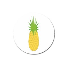 Fruit Pineapple Yellow Green Magnet 3  (round) by Alisyart