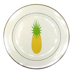 Fruit Pineapple Yellow Green Porcelain Plates by Alisyart