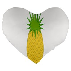 Fruit Pineapple Yellow Green Large 19  Premium Heart Shape Cushions by Alisyart