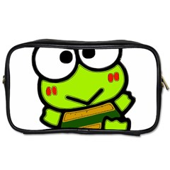 Frog Green Big Eye Face Smile Toiletries Bags 2 Side by Alisyart