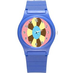 Garage Door Quilts Flower Line Round Plastic Sport Watch (s) by Alisyart