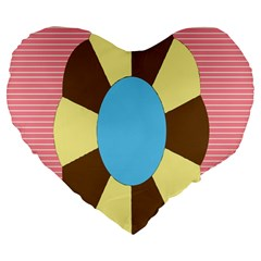 Garage Door Quilts Flower Line Large 19  Premium Flano Heart Shape Cushions by Alisyart