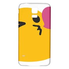 Happy Heart Love Face Emoji Samsung Galaxy S5 Back Case (white) by Alisyart
