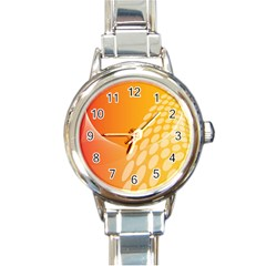 Abstract Orange Background Round Italian Charm Watch by Simbadda