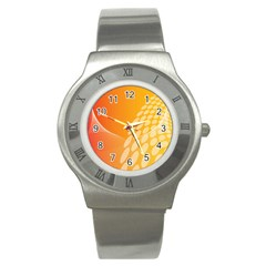 Abstract Orange Background Stainless Steel Watch by Simbadda