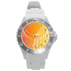 Abstract Orange Background Round Plastic Sport Watch (l) by Simbadda