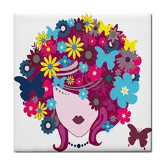 Floral Butterfly Hair Woman Tile Coasters by Alisyart