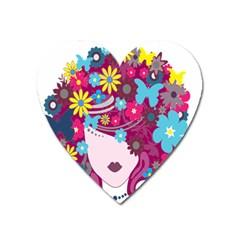 Floral Butterfly Hair Woman Heart Magnet by Alisyart