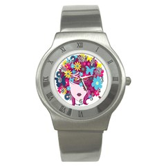 Floral Butterfly Hair Woman Stainless Steel Watch by Alisyart
