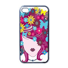 Floral Butterfly Hair Woman Apple Iphone 4 Case (black) by Alisyart