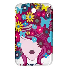 Floral Butterfly Hair Woman Samsung Galaxy Tab 3 (7 ) P3200 Hardshell Case  by Alisyart