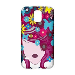 Floral Butterfly Hair Woman Samsung Galaxy S5 Hardshell Case  by Alisyart