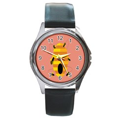 Honeycomb Wasp Round Metal Watch by Alisyart