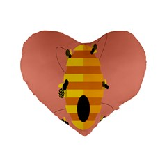 Honeycomb Wasp Standard 16  Premium Flano Heart Shape Cushions by Alisyart