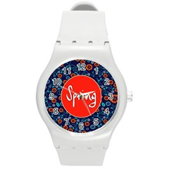 Floral Texture Pattern Card Floral Seamless Vector Round Plastic Sport Watch (m) by Simbadda
