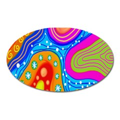 Hand Painted Digital Doodle Abstract Pattern Oval Magnet by Simbadda