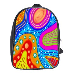 Hand Painted Digital Doodle Abstract Pattern School Bags(large)  by Simbadda