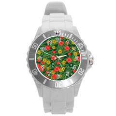 Completely Seamless Tile With Flower Round Plastic Sport Watch (l) by Simbadda