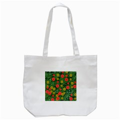 Completely Seamless Tile With Flower Tote Bag (white) by Simbadda