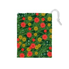 Completely Seamless Tile With Flower Drawstring Pouches (medium)  by Simbadda