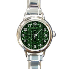 An Overly Large Geometric Representation Of A Circuit Board Round Italian Charm Watch by Simbadda