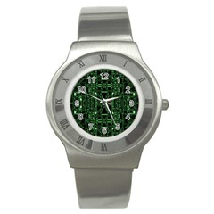 An Overly Large Geometric Representation Of A Circuit Board Stainless Steel Watch by Simbadda