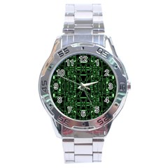 An Overly Large Geometric Representation Of A Circuit Board Stainless Steel Analogue Watch by Simbadda