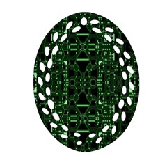 An Overly Large Geometric Representation Of A Circuit Board Oval Filigree Ornament (two Sides) by Simbadda