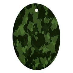 Camouflage Green Army Texture Ornament (oval) by Simbadda