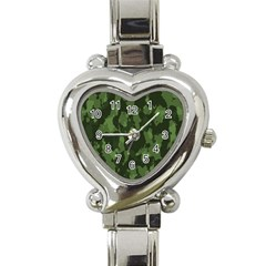 Camouflage Green Army Texture Heart Italian Charm Watch by Simbadda