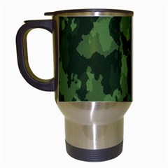 Camouflage Green Army Texture Travel Mugs (white) by Simbadda