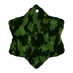 Camouflage Green Army Texture Snowflake Ornament (two Sides) by Simbadda