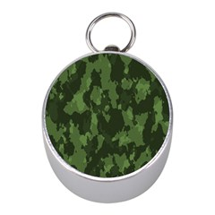 Camouflage Green Army Texture Mini Silver Compasses by Simbadda