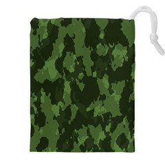Camouflage Green Army Texture Drawstring Pouches (xxl) by Simbadda