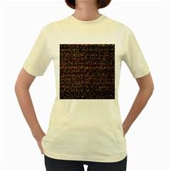 Pixel Pattern Colorful And Glowing Pixelated Women s Yellow T Shirt by Simbadda