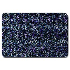 Pixel Colorful And Glowing Pixelated Pattern Large Doormat  by Simbadda