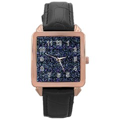 Pixel Colorful And Glowing Pixelated Pattern Rose Gold Leather Watch  by Simbadda