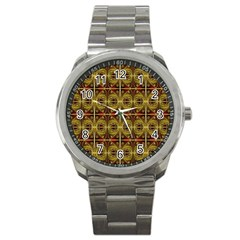 Seamless Symmetry Pattern Sport Metal Watch by Simbadda