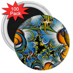 Fractal Background With Abstract Streak Shape 3  Magnets (100 Pack) by Simbadda