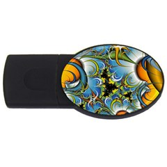 Fractal Background With Abstract Streak Shape Usb Flash Drive Oval (2 Gb) by Simbadda